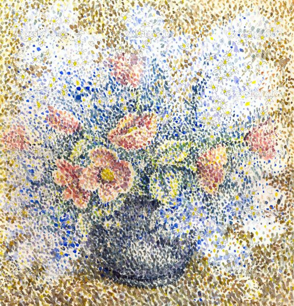 Scenic watercolor still life in the style of pointillism. Fragrant bouquet of fresh flowers in a round vase